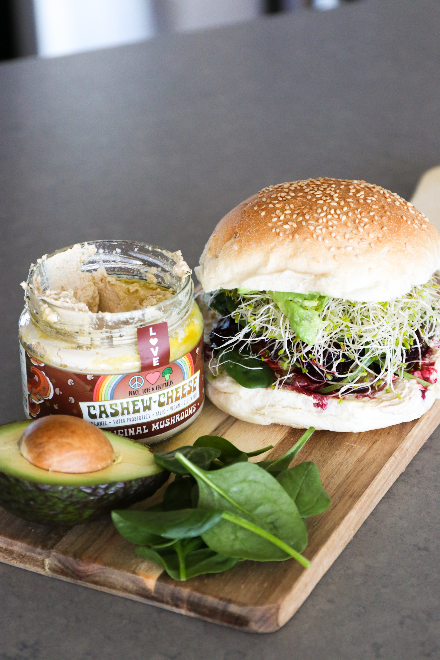 Portobello Mushroom Burger with PLV Cashew Cheese   WholeLife Pharmacy & Healthfoods